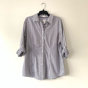 Chico's | Grey and White Striped Button up Blouse